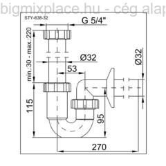 STYRON mosdó csőszifon, 32mm, szerkezeti ábra (STY-638-32)
