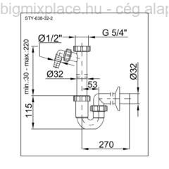 STYRON mosdó csőszifon, 32mm, mosógép-csatlakozóval, szerkezeti ábra (STY-638-32-2)