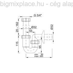 STYRON csőszifon, 32mm-es, fekete, szerkezeti ábra (STY-638-32-B)