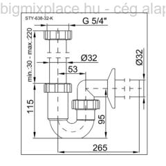 STYRON krómozott csőszifon, 32mm-es elfolyással(STY-638-32-K)