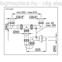STYRON mosogató csőszifon, kétmedencés, leeresztő nélkül, szerkezeti ábra (STY-639-2)