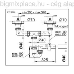 STYRON mosogató csőszifon, kétmedencés, két leeresztővel, 40mm-es elfolyással, szerkezeti ábra (STY-639-6)