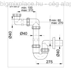 STYRON helytakarékos mosogatószifon, egymedencés, szerkezeti ábra (STY-641-2)