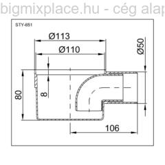 STYRON egyágú padlószifon (szuez), lapos kivitel, 80mm magas, szerkezeti ábra (STY-651)