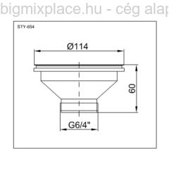STYRON leeresztő szelep, 114mm-es becsatlakozással, 6/4col elfolyással, szerkezeti ábra (STY-654)