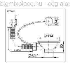 STYRON leeresztő szelep mosogatóhoz, bovdenes, egymedencés, szerkezeti ábra (STY-660)