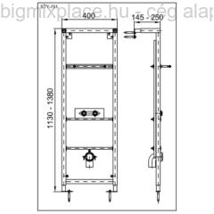 STYRON beépíthető mosdókeret, szerkezeti ábra (STY-751)