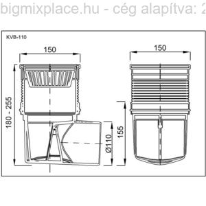 Kültéri víznyelő, 110mm, szerkezeti ábra