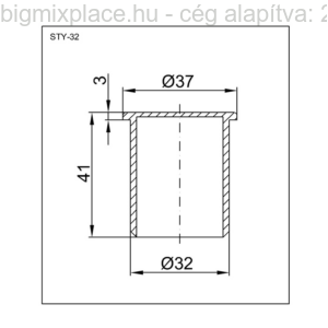 Styron PVC tokelzáró fehér dugó, átmérője 32mm, szerkezeti ábra (STY-32)