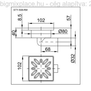 STYRON zuhanytálca szifon, oldalkifolyású, 32mm-es elfolyással, rozsdamentes fém ráccsal, szerkezeti ábra (STY-508-RM)