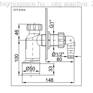 STYRON fali mosógép csatlakozó, krómozott előlappal, szerkezeti ábra (STY-510-K)