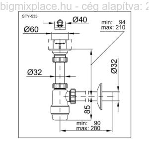 STYRON mosdószifon, 5/4col, szerkezeti ábra (STY-533)