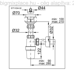 STYRON mosdószifon, nagyáteresztésű, szerkezeti ábra (STY-534-32)