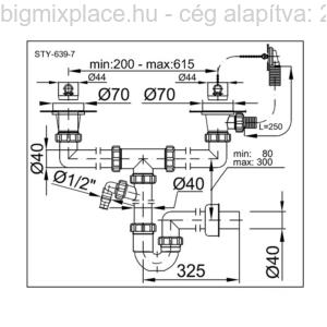 STYRON mosogató csőszifon, kétmedencés, két leeresztővel, túlfolyóval, mosogatógép-csatlakozóval, 40mm, szerkezeti ábra (STY-639-7)
