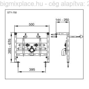 STYRON beépíthető bidékeret, szerkezeti ábra (STY-750)