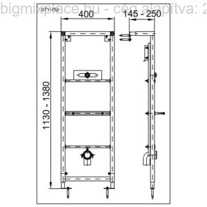 STYRON beépíthető piszoárkeret, szerkezeti ábra (STY-752)