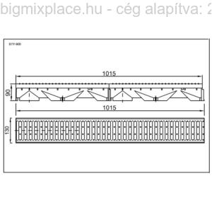 STYRON folyóka 1m-es, horganyzott acél fedráccsal, szerkezeti ábra, STY-900