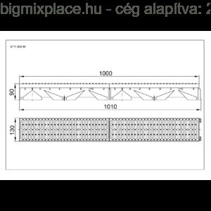 STYRON folyóka 1m-es, műanyag fedráccsal, szerkezeti ábra (STY-900-M)