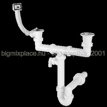 STYRON mosogató csőszifon, kétmedencés, két leeresztővel, túlfolyóval, mosogatógép-csatlakozóval, 40mm-es elfolyással (STY-639-7)