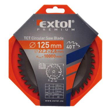 EXTOL PREMIUM körfűrészlap, keményfémlapkás, 2,6mm lapkaszél, 125x22,2mm