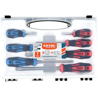 EXTOL PREMIUM csavarhúzó készlet, 7 db-os, CV, mágneses