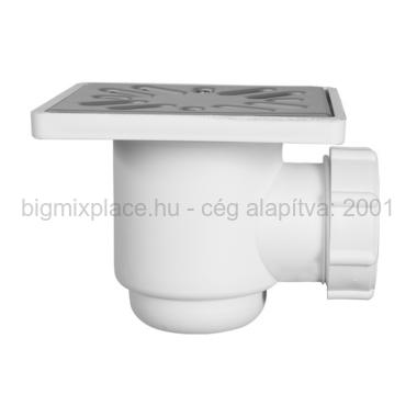 STYRON padlószifon (szuez), zuhanytálca szifon, 100x100mm rozsdamentes ráccsal, cső nélkül (STY-508-2)