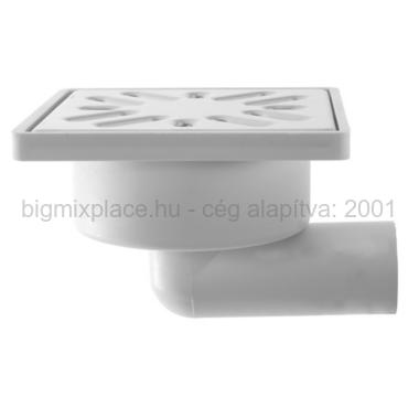 STYRON zuhanytálca szifon, oldalkifolyású, 32mm-es elfolyással, rozsdamentes fém ráccsal (STY-508-RM)