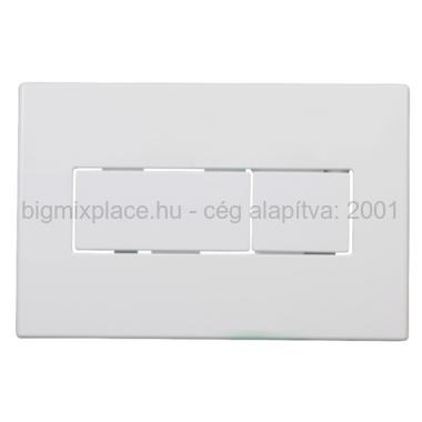 STYRON nyomólap duplagombos, szögletes, fehér, beépíthető WC tartályhoz (STY-800-1)