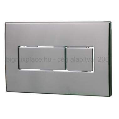 STYRON nyomólap duplagombos, szögletes, króm, beépíthető WC tartályhoz (STY-800-2)
